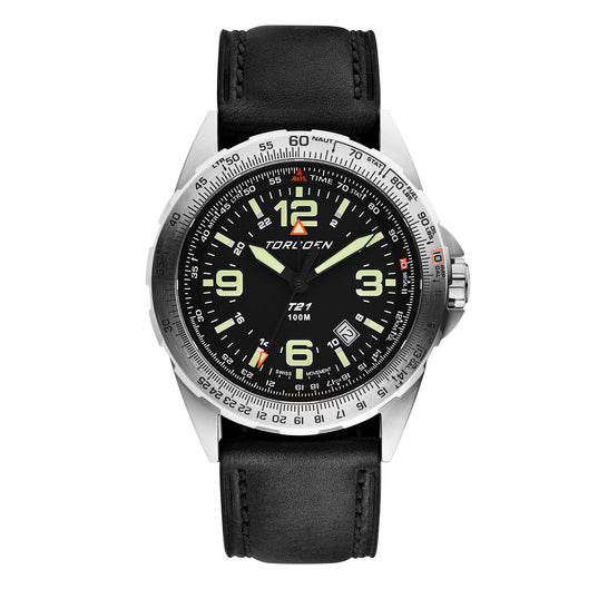 T21 Black Sapphire | 44mm - Vintage Leather Strap