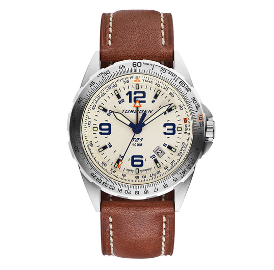 T21 Cream Sapphire | 44mm - Vintage Leather Strap