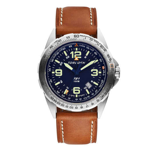 T21 Blue Sapphire | 44mm - Vintage Leather Strap