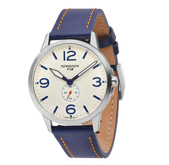 T19 Snow Bunting | 40mm - Blue Leather Strap