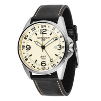 T25 Cream | 44mm - Black Leather Strap