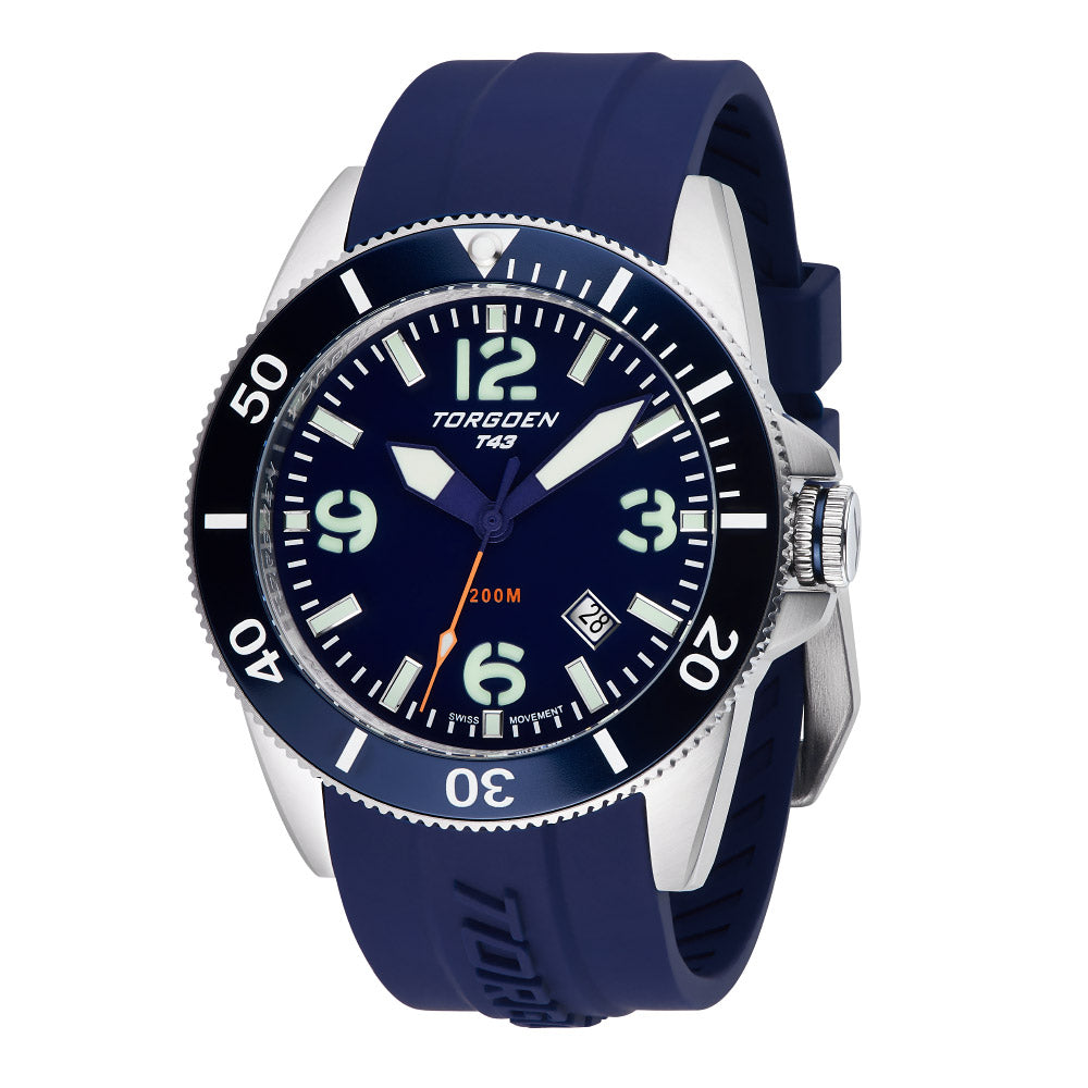 T43 Navy Diver Sapphire | 44mm - Navy Silicone Strap