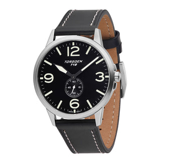 T19 Black Turnstone | 40mm - Black Leather Strap