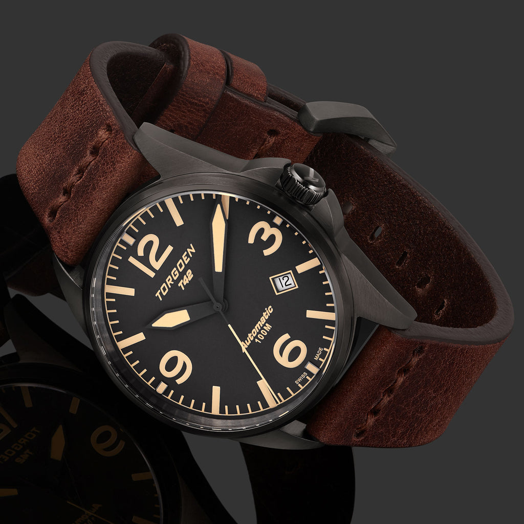 T42 Dark Grey Automatic | 41mm - Vintage Leather Strap