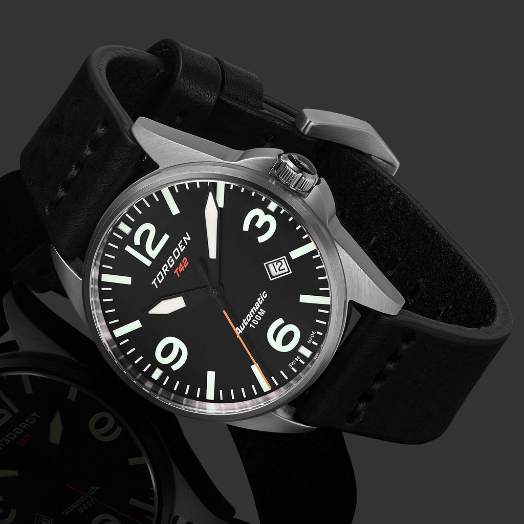 T42 Black Automatic | 41mm - Vintage Leather Strap