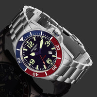 T43 Blue & Red Diver | 44mm - Metal Bracelet