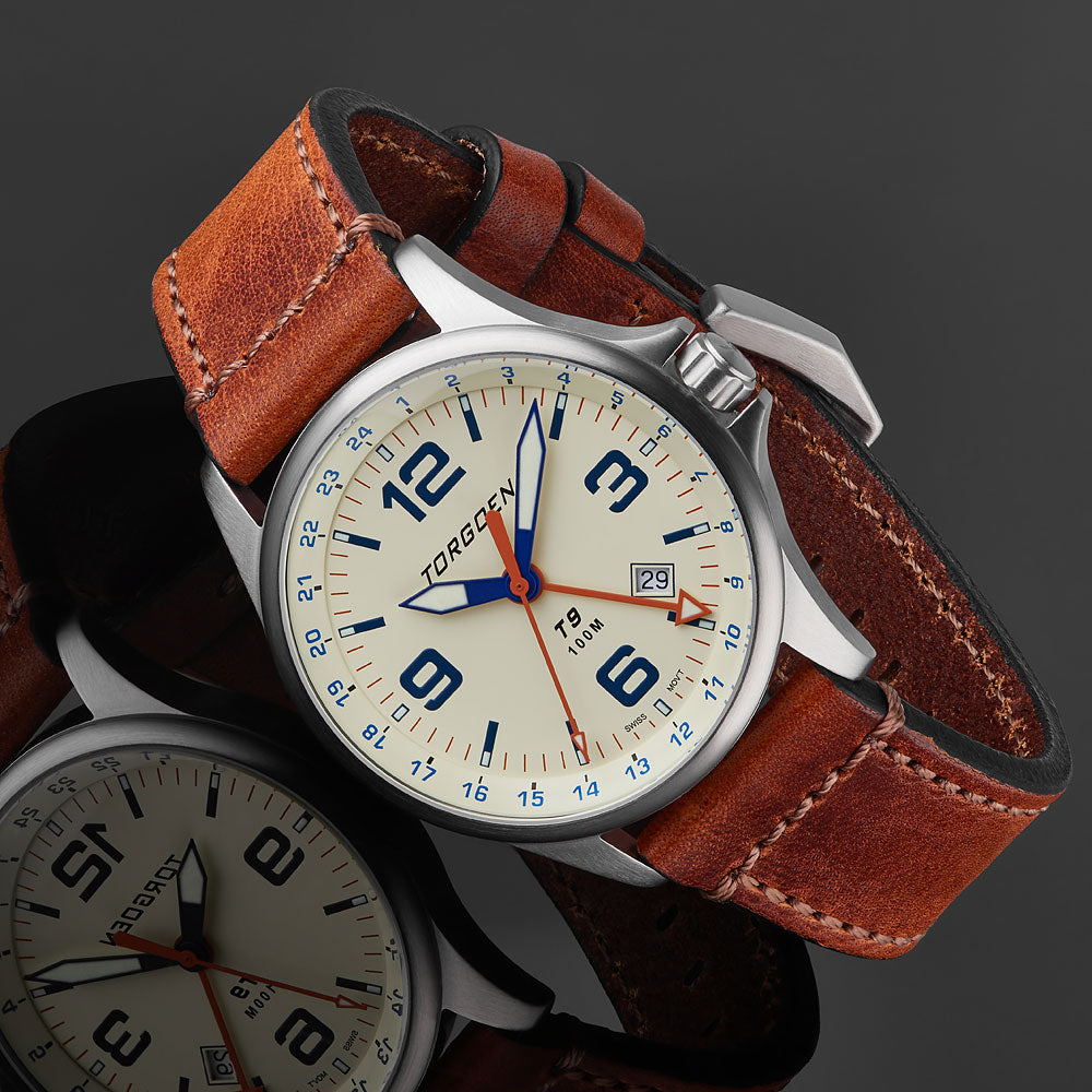 T9 White Ibis GMT | 42mm  - Brown Vintage Leather Strap