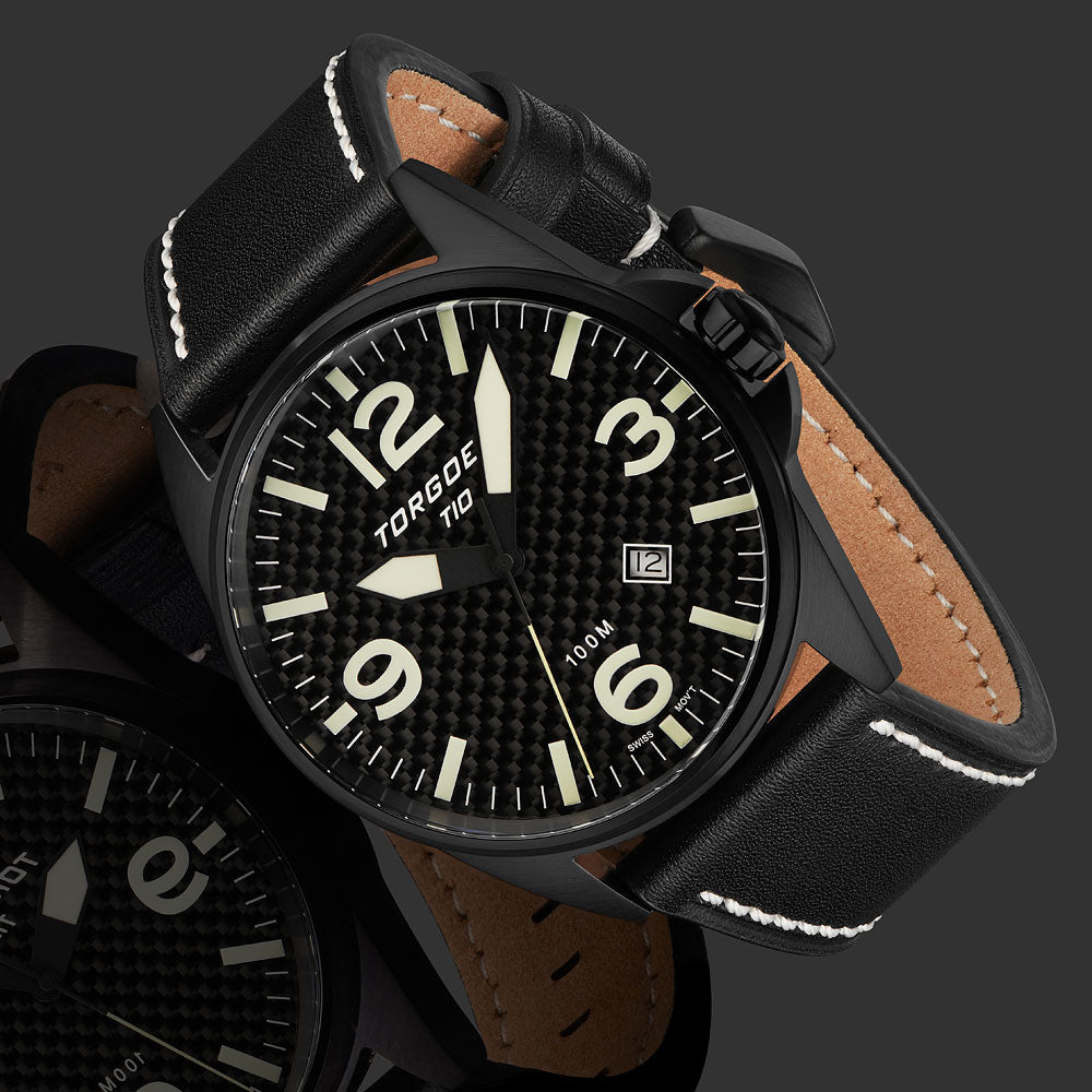 T10 Nuttall Carbon | 44mm - Leather Strap