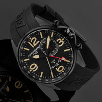 T30 Black GMT/Alarm | 45mm - Black Silicone Strap