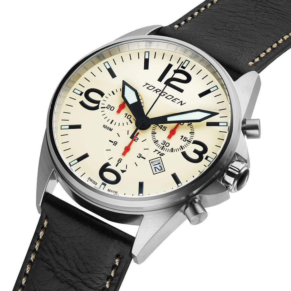 T16 Cream | 44mm - Black Leather Strap