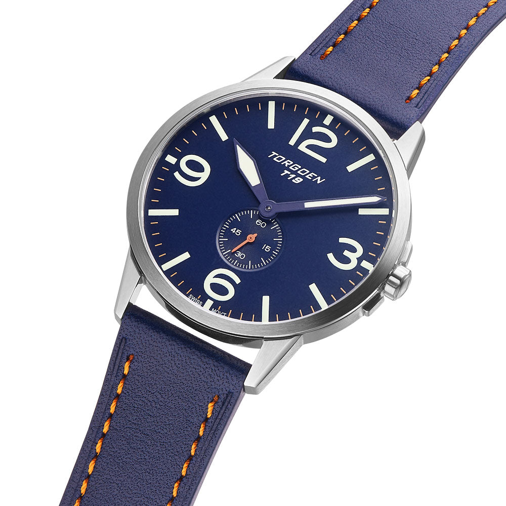 T19 Slim Blue Robin | 40mm - Blue Leather Strap