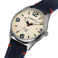 T101 Snow Bunting | 41mm - Blue Leather Strap