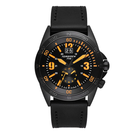 T14 Orange Tactical | 44mm Black Leather Strap
