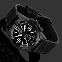 T14 Black Tactical | 44mm Black Leather Strap