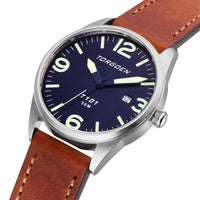 T101 Blue Pelican  | 41mm - Brown Leather Strap