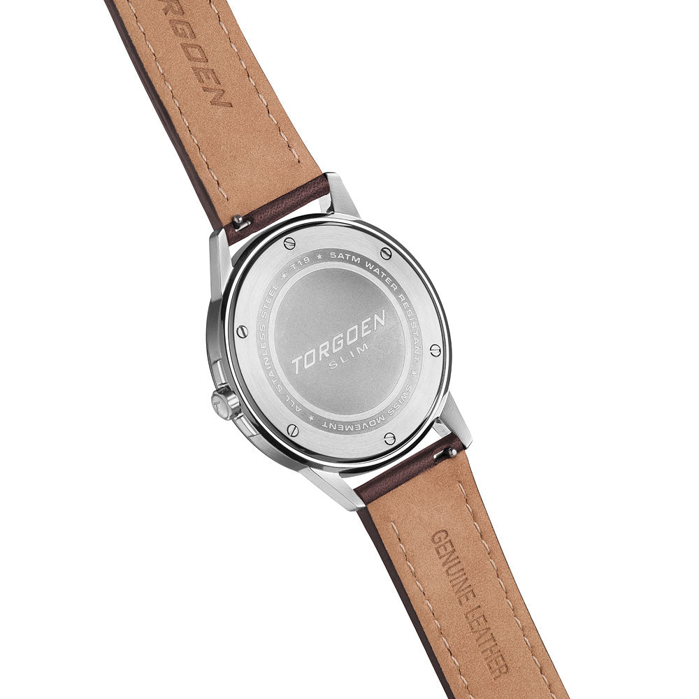 T19 Cream Swan | 40mm - Brown Leather Strap