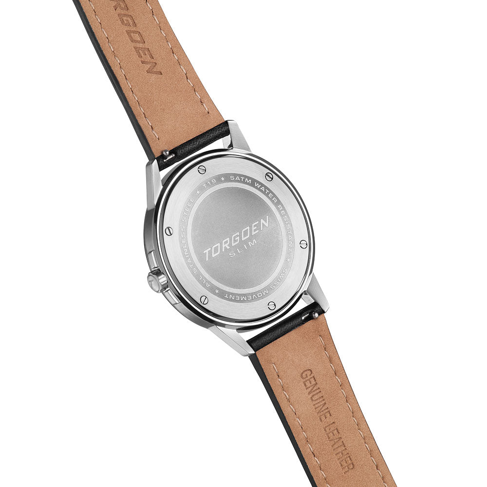 T19 Slim Turnstone | 40mm - Black Leather Strap