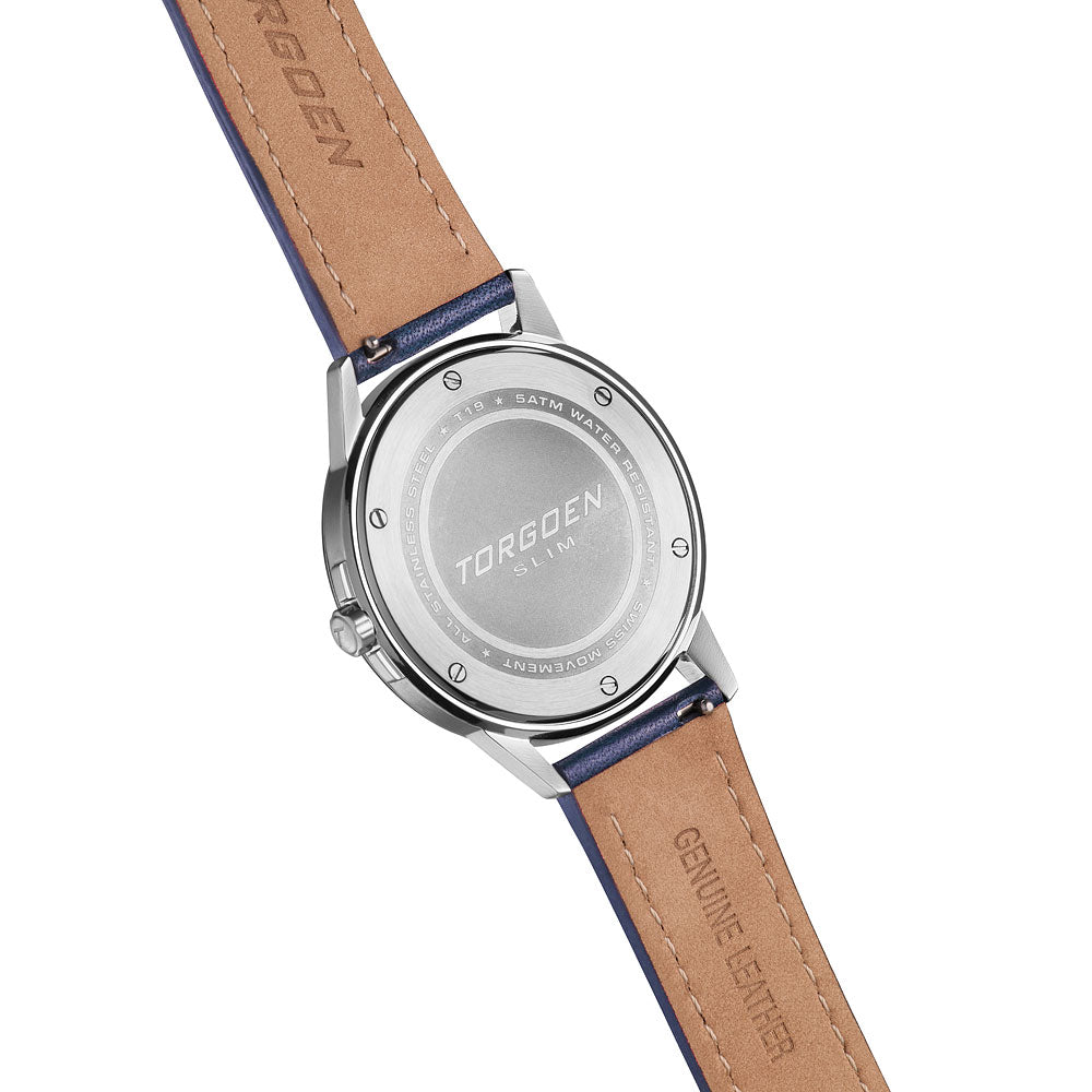 T19 Slim Snow Bunting | 40mm - Blue Leather Strap