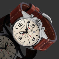 T16 Cream | 44mm - Vintage Leather Strap