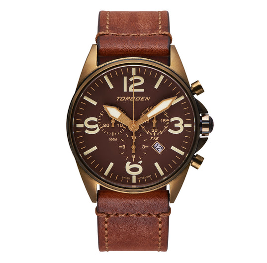 T16 Bronze Sapphire | 44mm - Vintage Leather Strap