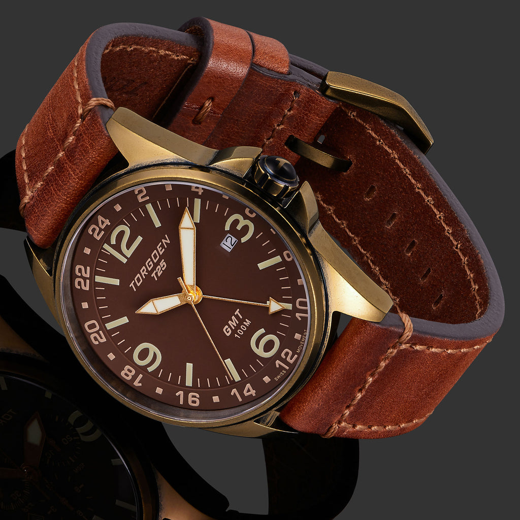 T25 Bronze Sapphire | 44mm - Vintage Leather Strap
