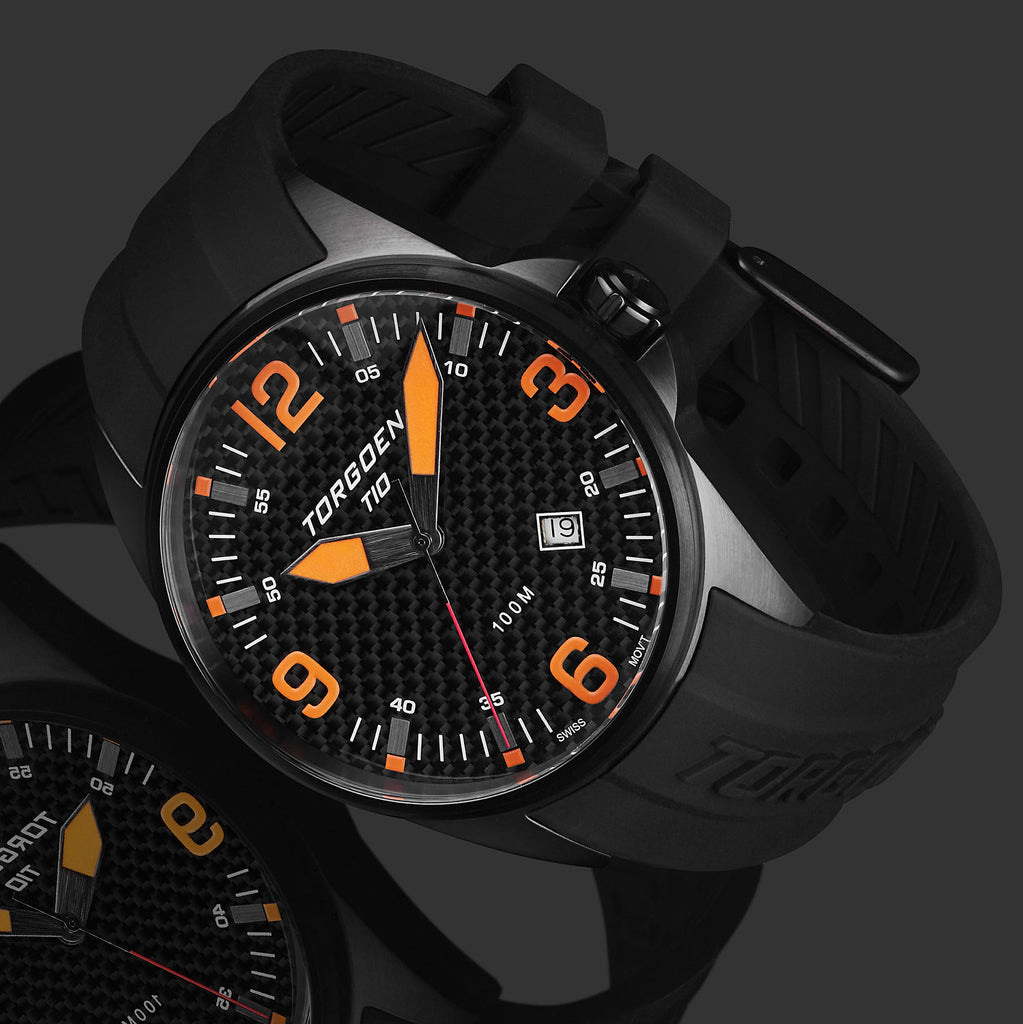 T10 Blackbird Carbon | 44mm - Black Silicone Strap