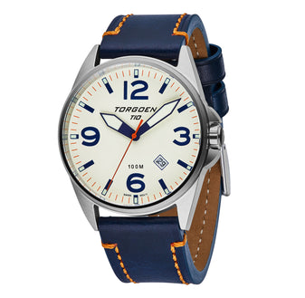 T10 Cream | 44mm - Blue Leather Strap