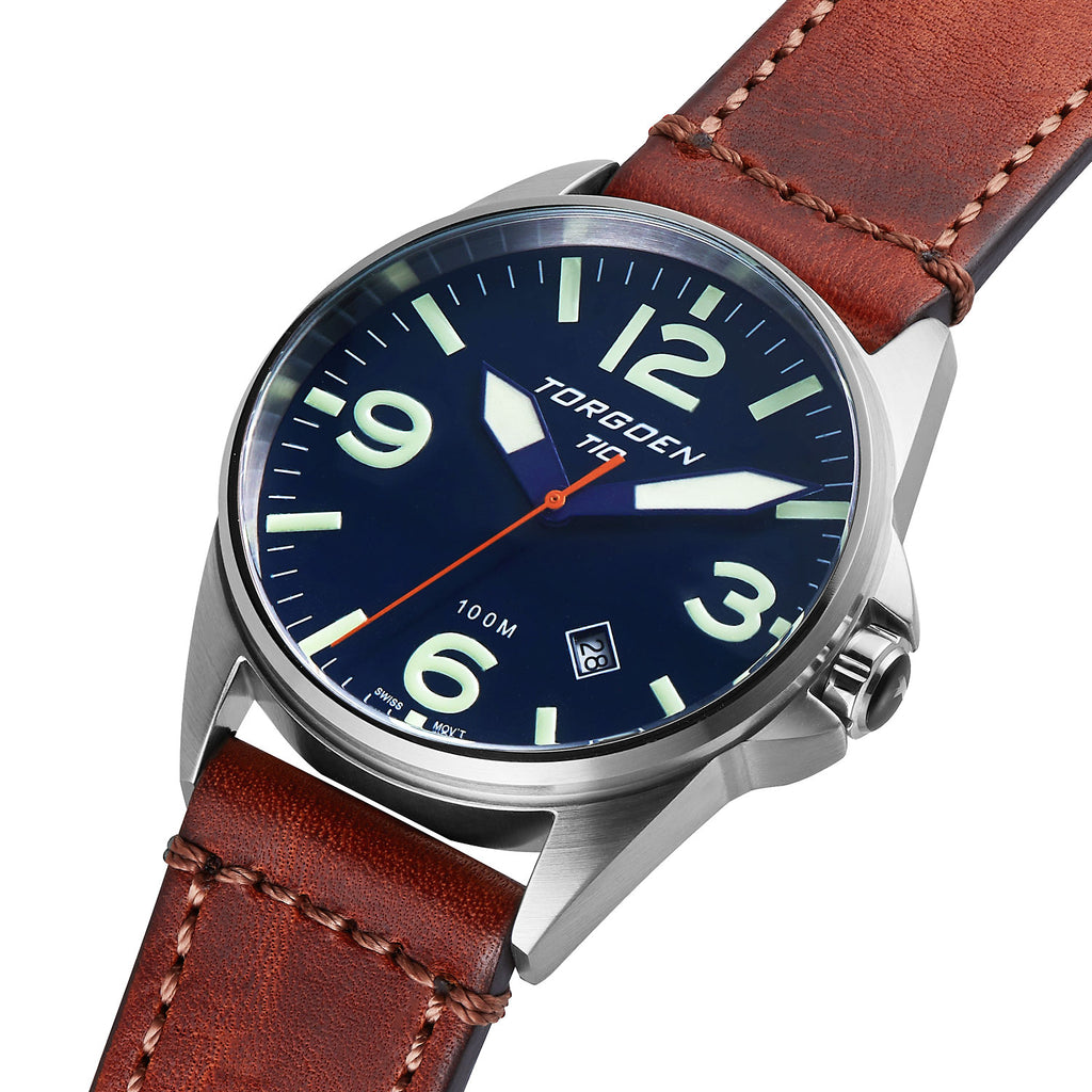 T10 Blue Tanager | 44mm - Vintage Leather Strap