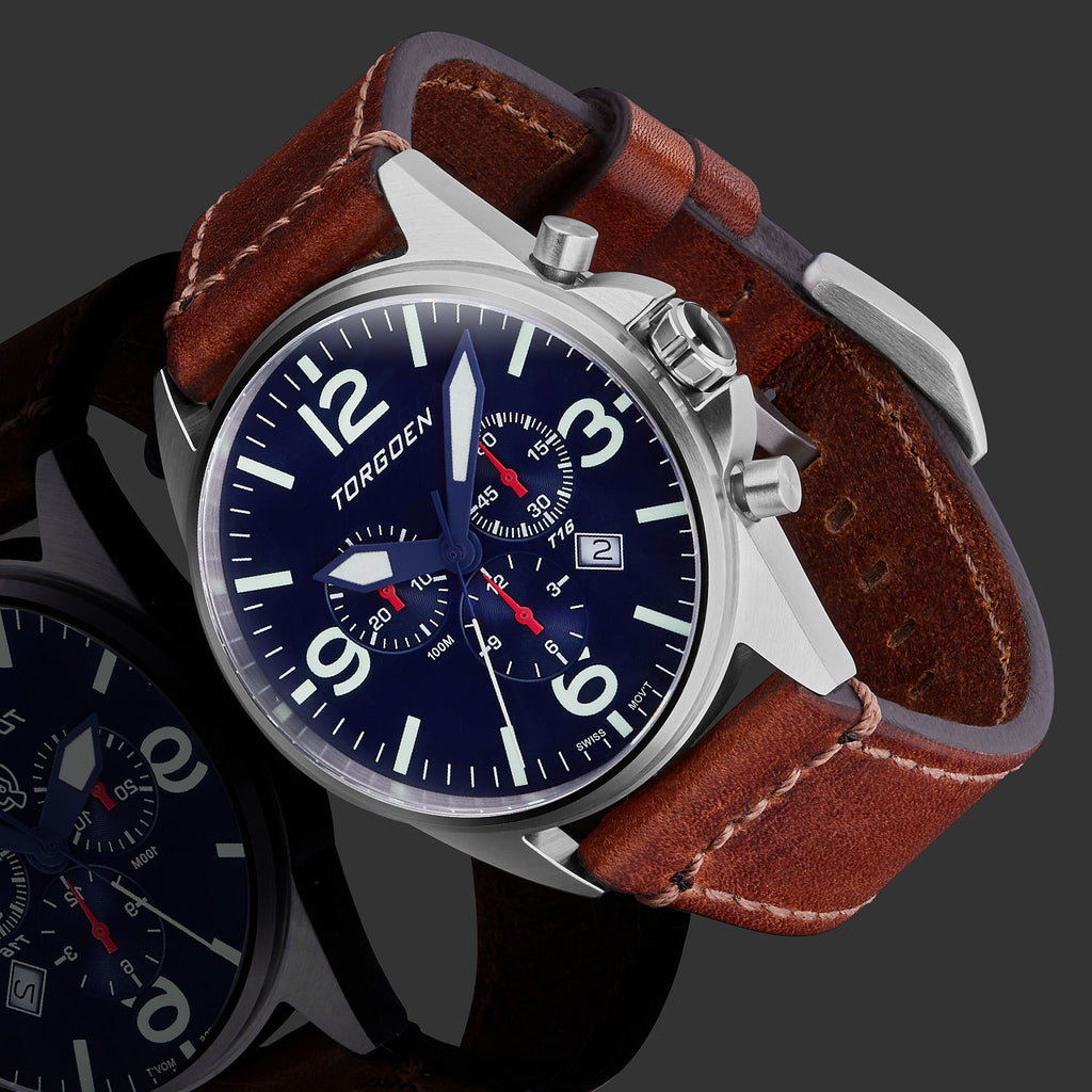 T16 Blue | 44mm - Vintage Leather Strap