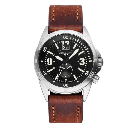 T14 Silver Tactical | 44mm Brown Leather Strap