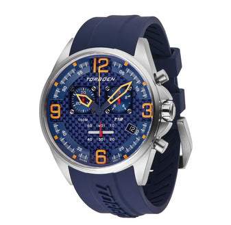 T18 Blue Silver Case | 45mm - Blue Silicone Strap