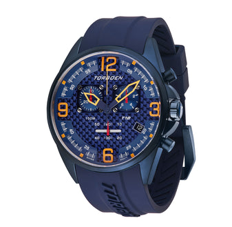 T18 Blue Carbon Fiber | 45mm - Blue Silicone Strap