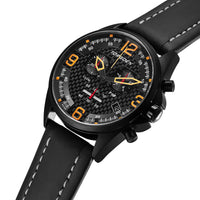 T18 Carbon Fiber | 45mm - Black Leather Strap