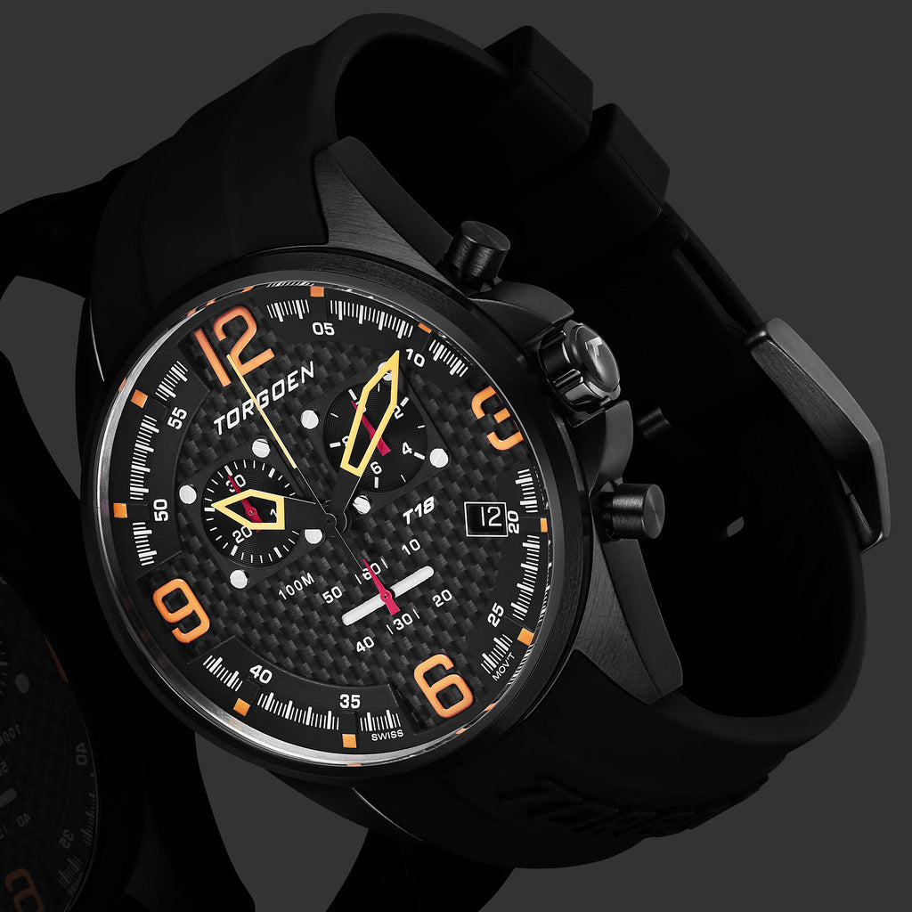 T18 Carbon Fiber | 45mm - Black Silicone Strap