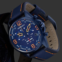 T18 Blue Carbon Fiber | 45mm - Blue Leather Strap