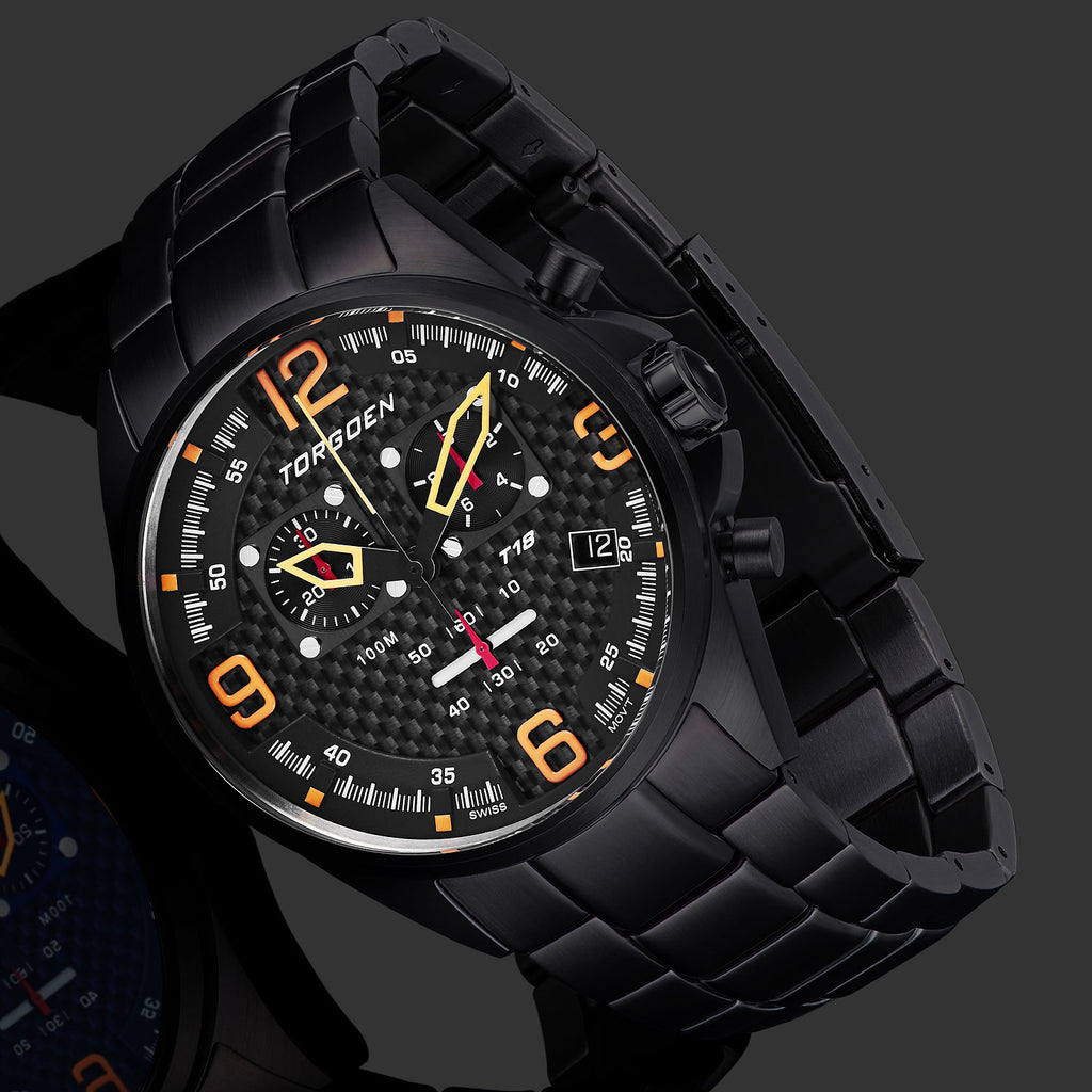 T18 Carbon Fiber | 45mm - Black IP Metal Bracelet