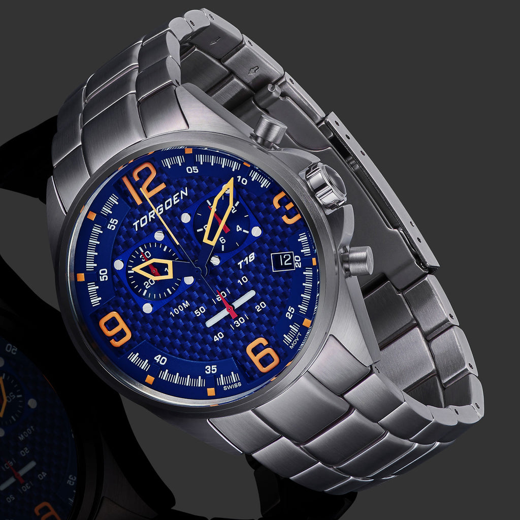 T18 Blue Carbon Fiber | 45mm - Silver Bracelet