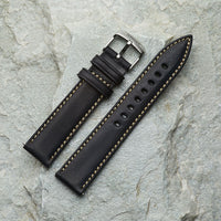 Black Leather strap | 20mm Silver Buckle