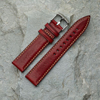 Bordeaux Leather Strap | 20mm Silver Buckle