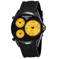 T08 Black and Yellow | 45 mm - Black PU Strap