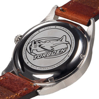 T101 Cream Swan   | 41mm - Brown Leather Strap