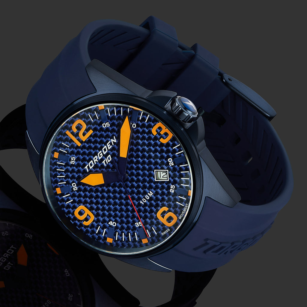 T10 Kingfisher Carbon Sapphire | 44mm - Blue Silicone Strap