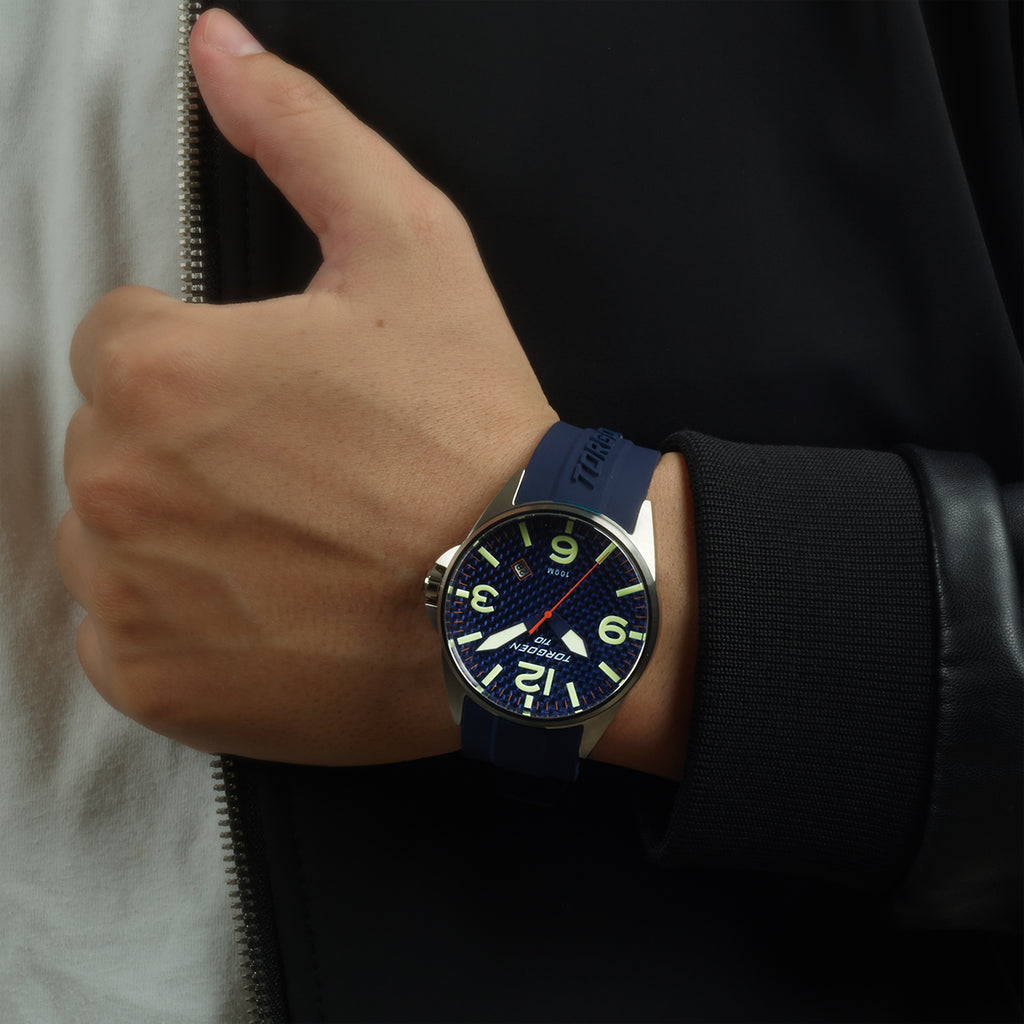 T10 Bluebird Carbon Sapphire | 44mm - Blue Silicone Strap