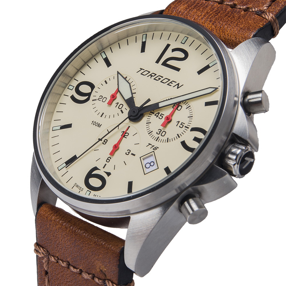 T16 Cream | 41mm - Vintage Leather Strap