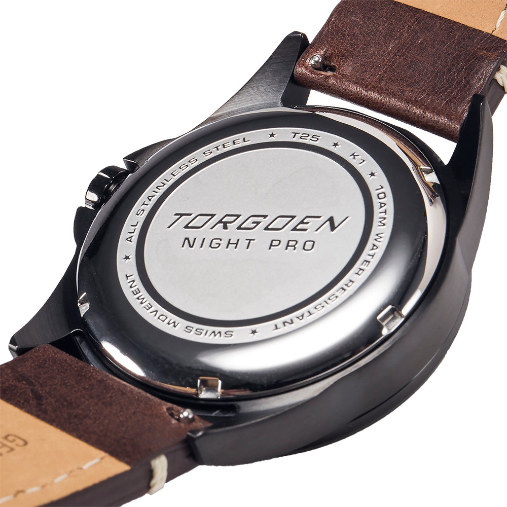 T25 Night Pro | 44 mm - Brown Leather Strap