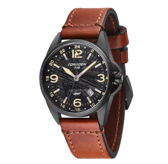 T25M Stadius | 41mm Meteorite - Brown Leather Strap