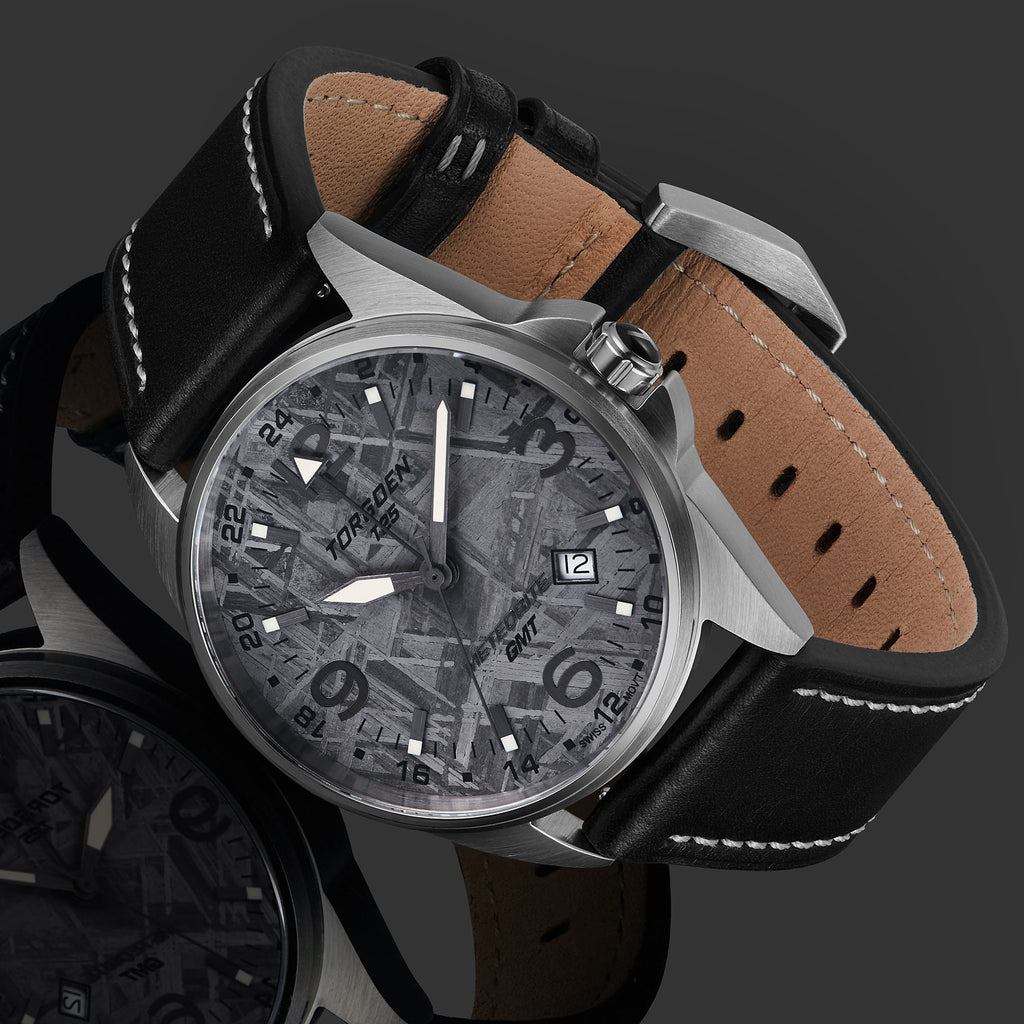 T25M Clavius | 41mm Meteorite - Black Leather Strap