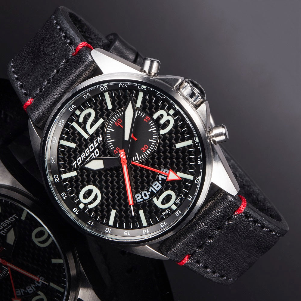 T30 Black Carbon Fiber GMT/Alarm | 45mm - Black Leather Strap