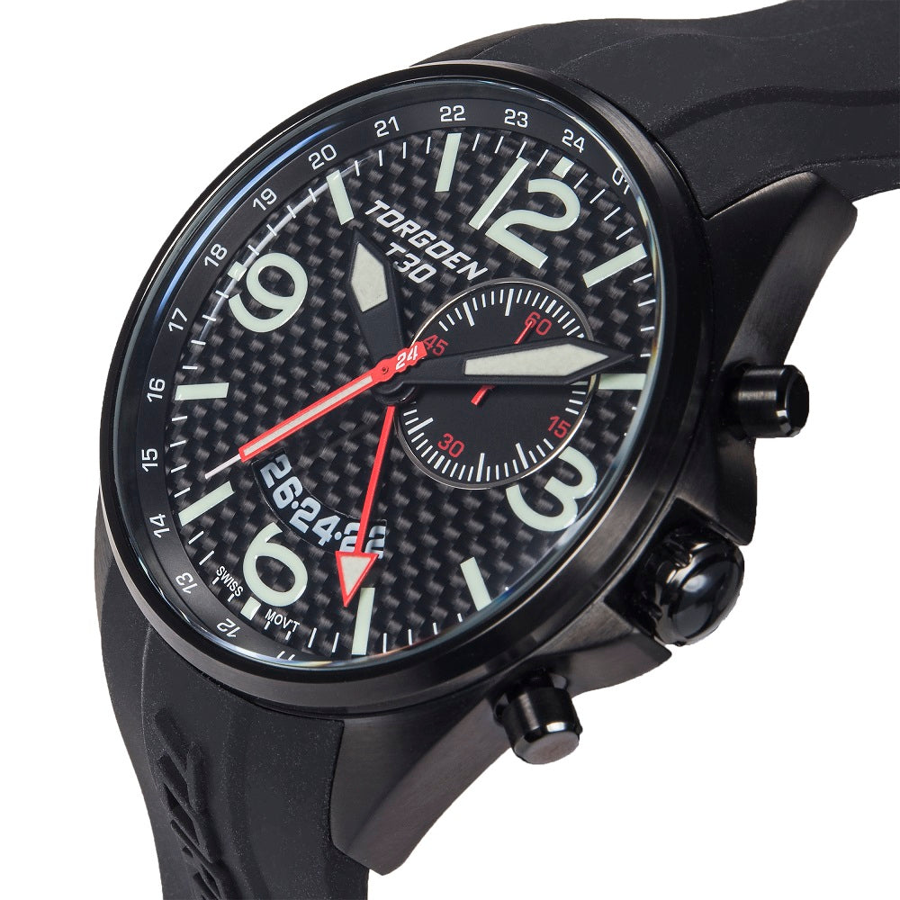 T30 Carbon GMT/Alarm | 45mm - Black Silicone Strap