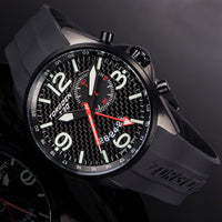T30 Black Carbon Fiber GMT/Alarm | 45mm - Black Silicone Strap